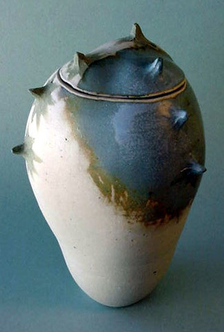 Blue Grey Spike Jar 2 - Ceramic Sculpture by Skip Bleecker