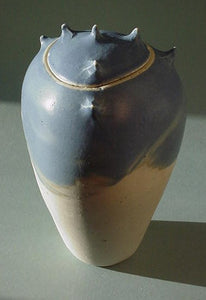 Blue Grey Spike Jar 3 - Ceramic Sculpture by Skip Bleecker