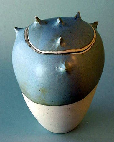 Blue Grey Spike Jar - Ceramic Sculpture by Skip Bleecker