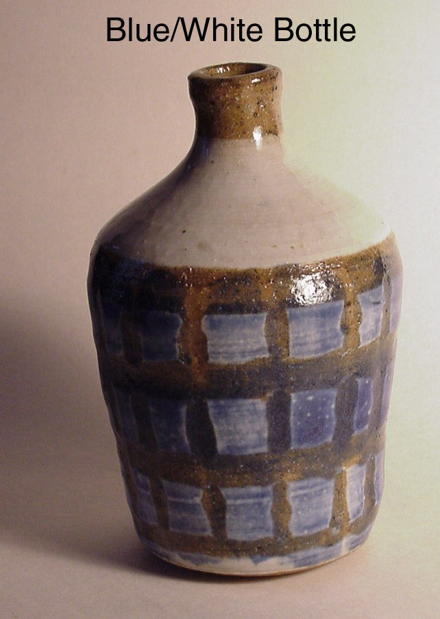 Blue White Bottle - Ceramic Sculpture by Skip Bleecker