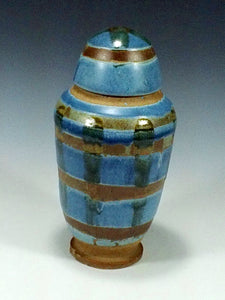 Blue Striped Jar - Ceramic Sculpture by Skip Bleecker