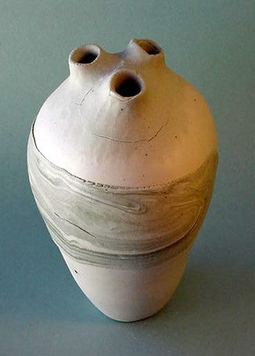 Green Layer 3 Hole Bottle - Ceramic Sculpture by Skip Bleecker