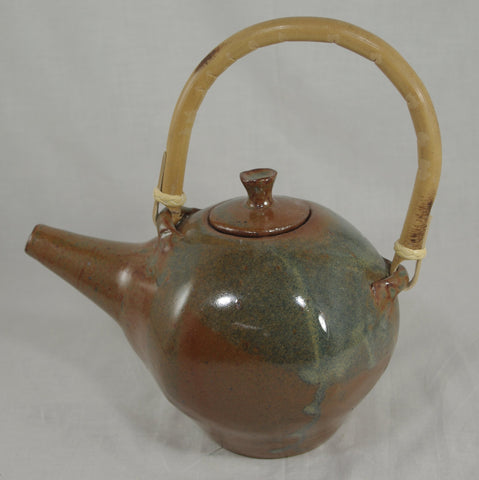 Tea Pot with Bamboo Handle #1 - Ceramic Sculpture by Skip Bleecker