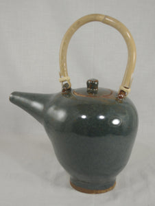 Tea Pot with Bamboo Handle #2 - Ceramic Sculpture by Skip Bleecker