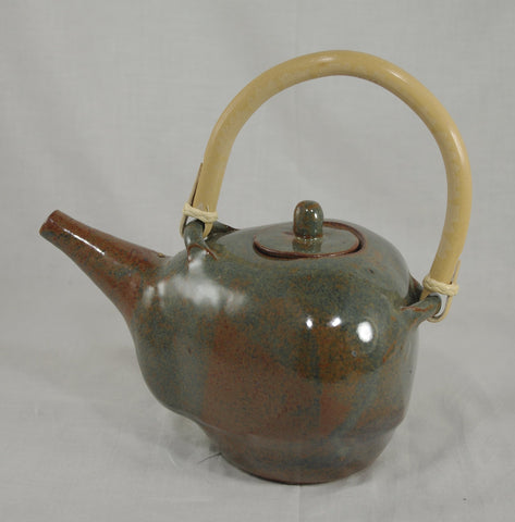 Tea Pot with Bamboo Handle #8 - Ceramic Sculpture by Skip Bleecker