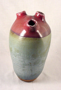 Red Three Hole Bottle - Ceramic Sculpture by Skip Bleecker