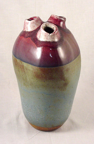 Red Three Hole Bottle #2 - Ceramic Sculpture by Skip Bleecker