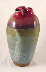 Red Three Hole Bottle #4 - Ceramic Sculpture by Skip Bleecker