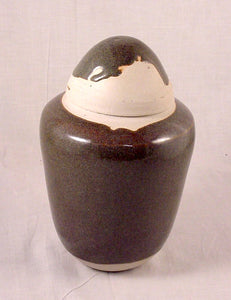 Blue Brown Porcelain Jar - Ceramic Sculpture by Skip Bleecker