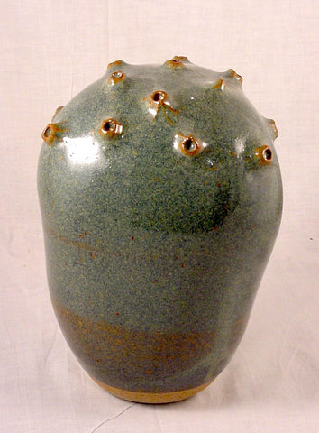 Blue Pollen Form - Ceramic Sculpture by Skip Bleecker
