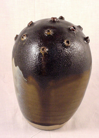 Black Pollen Form - Ceramic Sculpture by Skip Bleecker