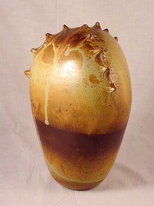 Brown Spike Form - Ceramic Sculpture by Skip Bleecker