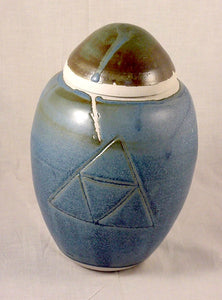 Blue Porcelain Jar - Ceramic Sculpture by Skip Bleecker