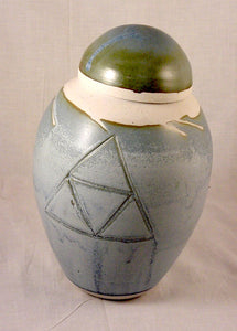 Light Blue Porcelain Jar - Ceramic Sculpture by Skip Bleecker