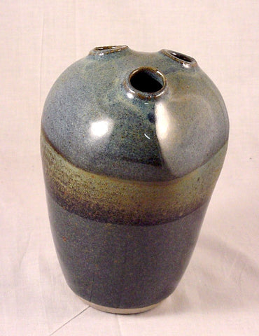 Three Hole Bottle #6 - Ceramic Sculpture by Skip Bleecker