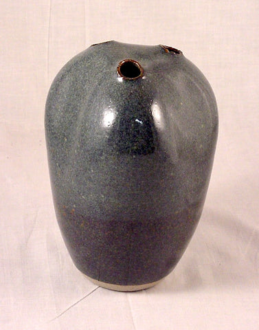Three Hole Blue Vase - Ceramic Sculpture by Skip Bleecker