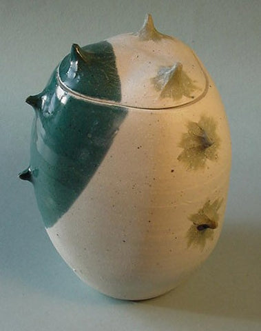 Turquoise Spike Jar 2 - Ceramic Sculpture by Skip Bleecker