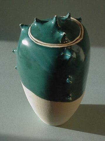 Turquoise Spike Jar - Ceramic Sculpture by Skip Bleecker