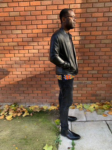 african kente print layered leather
