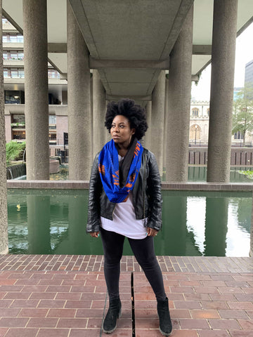 african print scarf in blue and orange