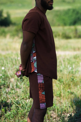 African print clothing t-shirt short in brown coord male