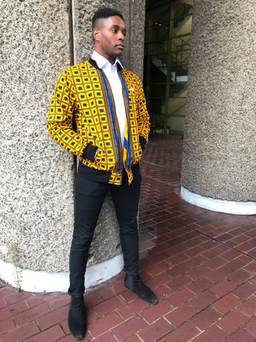 Yellow Blue African print bomber