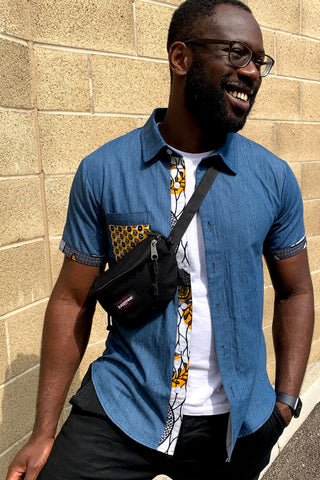 African Print Denim T-shirt with fanny pack