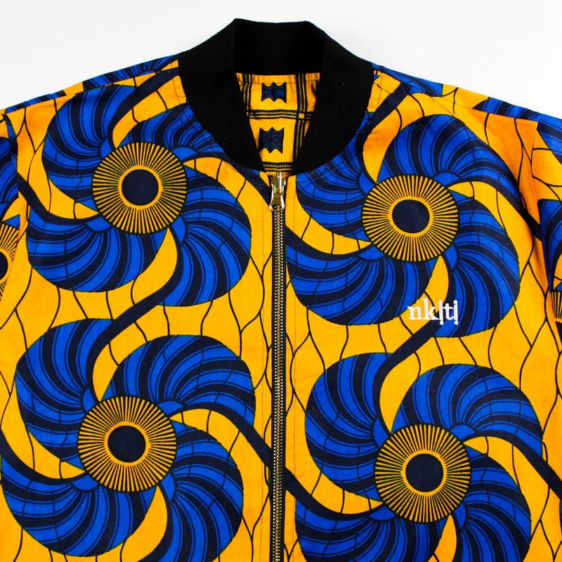Reversible Bomber Jacket in Blue and Yellow African Print