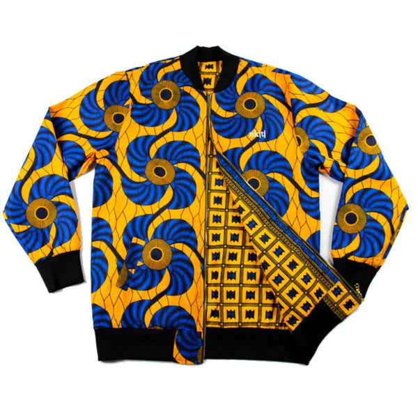 Yellow Blue African Print Bomber Floral
