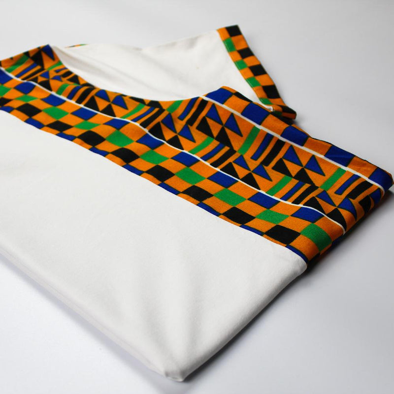 T-Shirt in White with Kente Print Side Panel