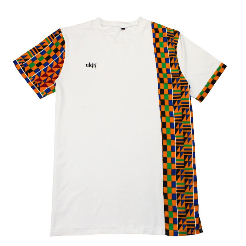 Kente print side panel t-shirt in white