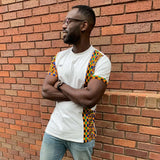 kente african print t-shirt panel in urban setting