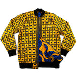 Yellow Blue African Print Bomber Jacket