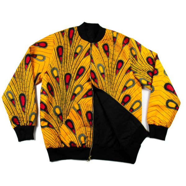 Yellow Red African print Bomber jacket