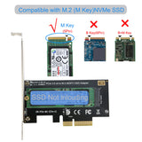 RIITOP PCI-e Nvme M.2 Adapter NVMe or AHCI M Key SSD to PCIe 3.0 x 4 Card (Support 2280,2260,2242) With Heatsink [M2TPCE4X&SR]