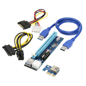 RIITOP Mining PCI-E Riser Card 1x To 16x Extender Adapter for Ethereum ETH Monero BTC Litecoin Vertcoin w/ 6pin & 4pin+15Pin SATA to Molex 4Pin