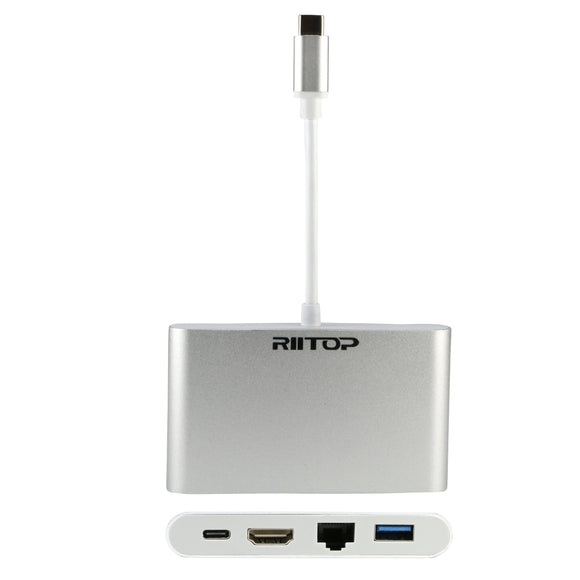 RIITOP USB C to HDMI Ethernet Adapter with 1000Mbps Lan Port + USB 3.0 HUB + USB-C Power Delivery PD Charging Port (Thunderbolt 3 Compatible) 4 IN 1