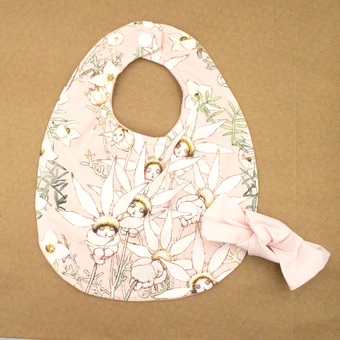 Snugglepot and Cuddlepie Bib and Bow Set in Pink