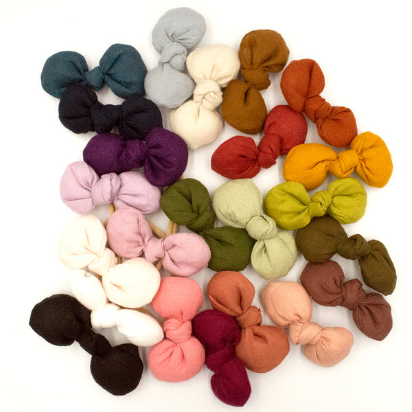 Lil' Freya Linen Bows - 23 colours