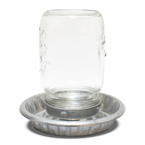 Drinker Galvanised base with Glass Mason Top 1L