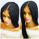 BEBE: Braided wig with swiss lace closure. Frontal braided wig for black women