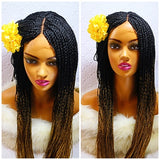 Long hand braided, high density braid wig with baby hair