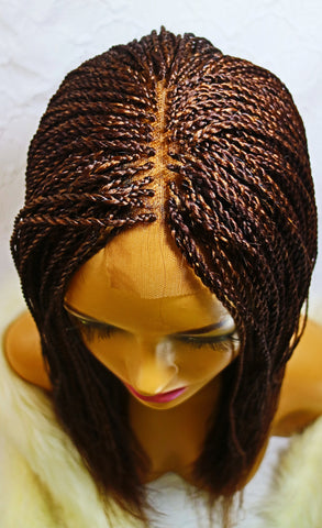 Kelly: 180% high density micro hand braided wig for black women