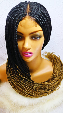 Kim: Braided wig with closure. Frontal braided wig for black women