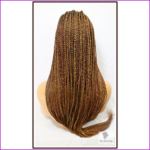 Liz: Long Braided Wig With Baby Hair. Color 27/30 Mix