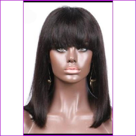 Lola: Straight Short Bob Lace Front Indian Hair Wig With Bangs