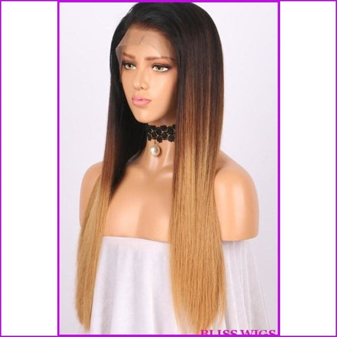 Sonya: Dark Roots Ombre Straight Lace Front Braizilian Wig