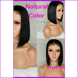 Tess: T1/pink Color Lace Front Straight Brazilian Hair Wig - 10Inches / 130% / Natural Color