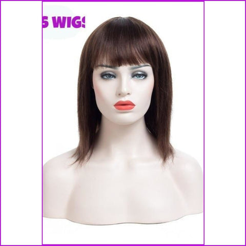 Vera: Straight Wig Remy Brazilian Hair With Bangs - None Lace / 10Inches / #4