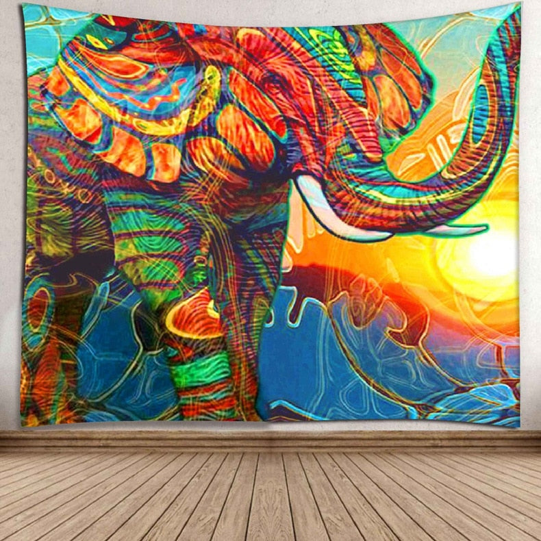 Elephant Tapestry Wall Hanging Printed Decorative Beach Mat
